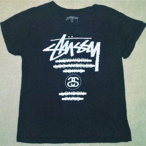 Stussy Black & White Graphic Logo Tee Size Medium